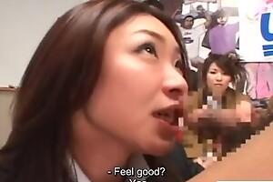Japanese game show blow job demonstration cumshot Riri Kouda