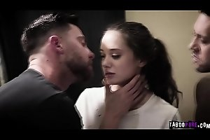Teen Gia Paige is close to crying while she gets brutally double penetrated!