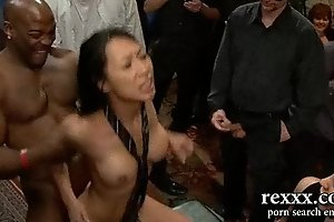Hottest black brown hair brutally gangbanged by massive co...