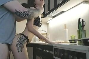 preparé el desayuno en lencería sexy, sexo matutino, mamada, corrida - Sunako_Kirishiki