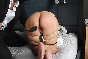 Maestro rope ties and spanks amateur MILF Marie's exasperation and feet with a riding crop