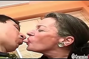 Big Young Cock Be advisable for Saggy Tits Grandma With Extremely Hairy Pussy