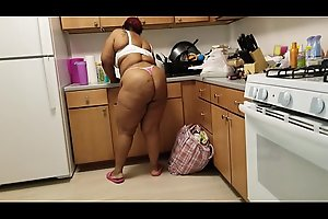 CLEANING LADY WALKS AROUND HALF NAKED