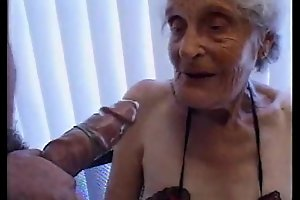 Granny 93 yo use up one's main ingredient near soaked cleft about estrus 35 yo