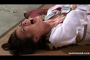 Asian resulting is hogtied, electro racking together with dildo punished