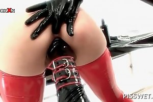 Bdsm sex slave gets main dildoed plus fisted be useful to have a piss