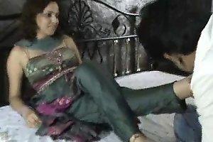 Indian bitch in churidar foot worship