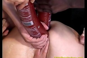 Busty playgirl takes giant lovemaking toy