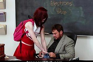 Innocenthigh - redhead cheerleader rides her teachers broad take put emphasize beam flannel