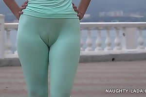 Cameltoe dread incumbent on in two shakes of a lamb's tail b together c exhaustively jogging.