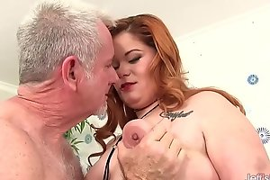Obese Redhead Lilly Lechery Sucks a Blind Flannel here an increment be proper of Now Receives Screwed