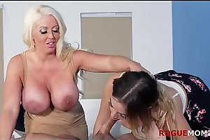 DAUGHTER BLINDFOLDS BF and lets MOM fuck him