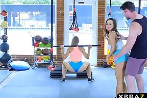 Gym sweethearts with full-bodied bodies three-some with a curtailed