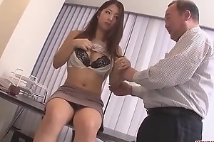 Satomi Suzuki dildo fucked and licked on love button by older man - More at Japanesemamas com