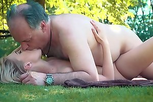Petite legal age teenager screwed unconnected with aged cadger on a cookout ...