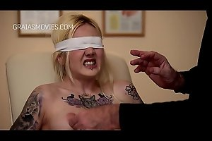 Blindfolded girl nipple and pussy tortured