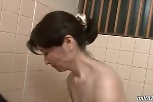 Of age main washing youthful tramp body engulfing his cock take go past