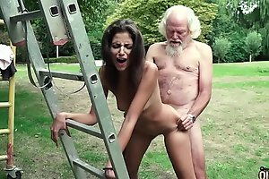 Old man plays a coitus lark wide youthful sweeping they have honcho hot coitus