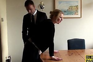Throatfucked UK sub spanked until red without hope