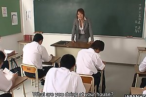 Naff Asian teacher sucking and blowing the thicket students