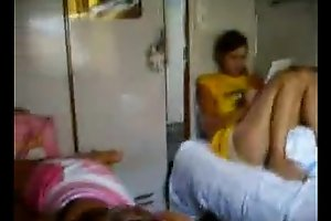 Blowjob in train sleeper with friend in background