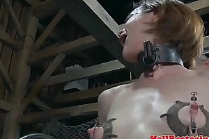 Shaved sub contraption fucked by cruel dom