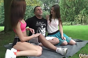 Skinny teens ride grandpa bushwa so abiding win screwed and everywhere facial