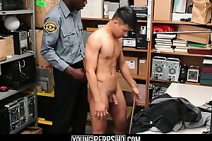 Straight Asian Twink Blocked Shoplifting Screwed By Black Gay Officer