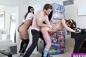 Arcade Angels enjoying this chaps long rod making them so wet!
