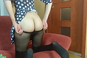 Solo female scolding in dress and pantyhose