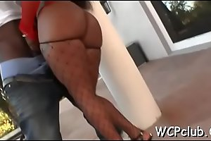 Prurient white girl gets holes fucked as a result well hard by ebony gangsta