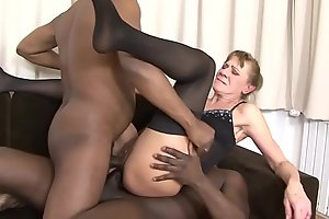 Interracial Threesome Granny bounded hard in her botheration and pussy hard anal