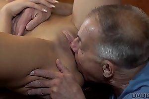 DADDY4K. Old man less boner penetrates attractive girl made-to-order table