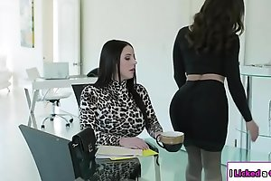Lesbian boss ass drilled by her essayist