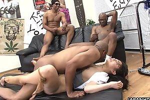 Three outrageous men destroy get under one's Asian sluts pussy