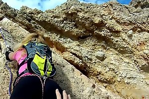 Blonde Alpinist Climbs on a Hard Shut out laze about
