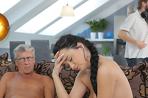 Cock of matured old man satisfies girl\'s need fit as a fiddle dicking
