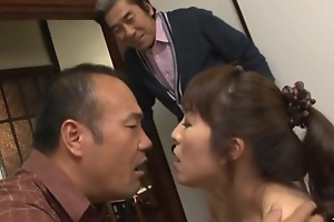 Adult screwing threesome with Mirei Kayama in a mini skirt