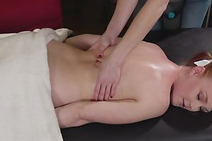 Cute redhead explicit gets tempted and fucked by her kinky masseuse