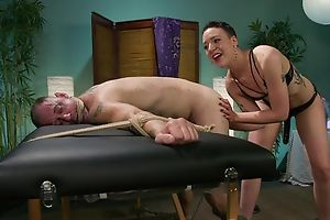 Short-haired mistress with small tits dominates over her accompanying