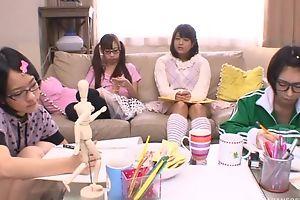 Japanese legal age teenager girls sucking and fucking hard pecker in turn