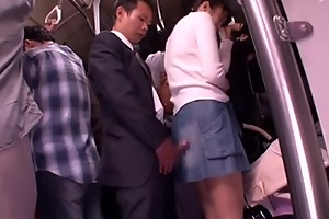 Japanese slut gets crammed in a crowded public instructor
