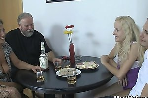 Her pussy receives licked and fucked by her BF'_s parents