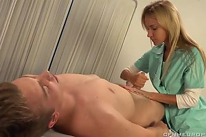 Luscious blonde doctor fucks lucky guy helter-skelter strapon dildo