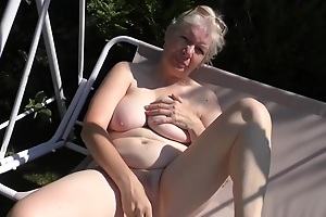 Horny granny, Caroline took off her rags and started masturating, in front of the camera