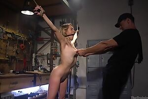 Bound sub to innocent boobs gets roughly screwed by her master