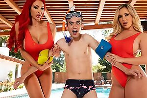 Two horny bitches with obese juggs lady-love Jordi by the pool