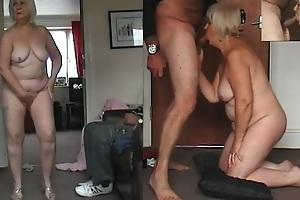 67 yo Granny dancing naked, blarney sucking and cum eating